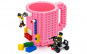 Cana customizabila cu piese Lego, Roz, 350 ml