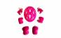 Set de protectie pentru copii, genunchiere, cotiere, aparatori maini si casca reglabile, roz