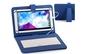 Husa tableta 9 inch cu tastatura micro usb model x, albastru, tip mapa, prindere 4 cleme, protectie antisoc, piele sintetica, functie stand compatibil android si windows C15, la 40 RON in loc de 85 RON