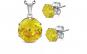 Set inox cu zirconii galbene rotunde