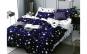 Lenjerie pentru pat dublu cu 2 fete, din finet de calitate superioara, 6 piese, stele albe pe albastru