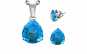 Set inox cu zirconii bleu in forma de