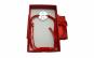 Bratara rosie impletita cu banut gravat