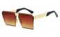 Ochelari de soare Rectangular Plat Oglinda Maro - Auriu