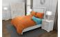 Lenjerie de pat matrimonial cu 4 huse perna cu mix dimensiuni, Duo Orange, bumbac satinat, gramaj tesatura 120 g mp, Portocaliu Turcoaz, 6 piese